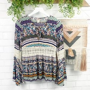Mossimo Supply Co Boho Lace Bell Sleeve Floral Top